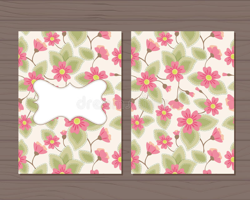 Download Cartão Do Vintage Com Flores Ilustração Stock - Ilustração de nave, texto: 80101885