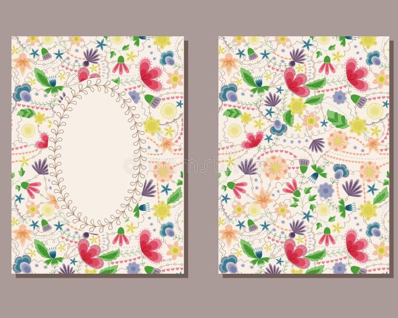 Download Cartão Do Vintage Com Flores Ilustração Stock - Ilustração de cumprimento, folha: 80102011