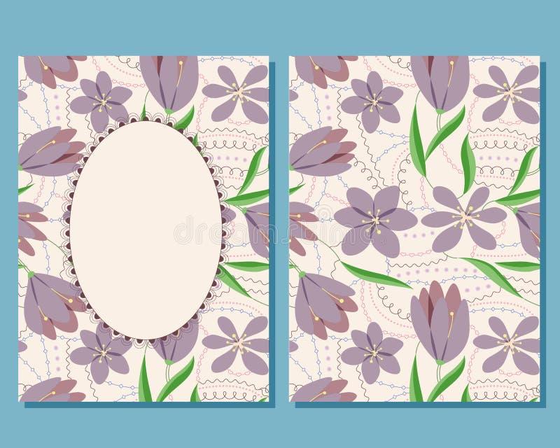 Download Cartão Do Vintage Com Flores Ilustração Stock - Ilustração de bebê, flor: 80102088