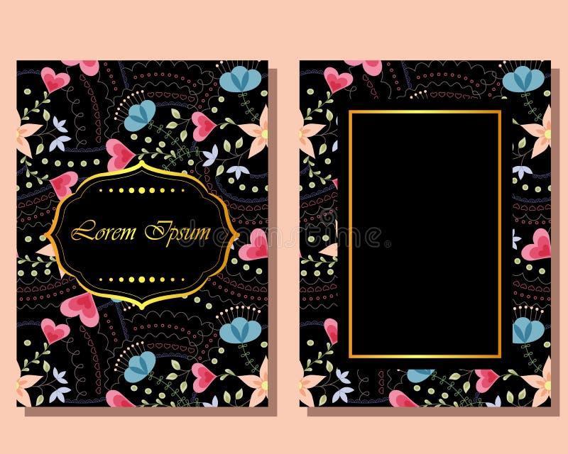 Download Cartão Do Vintage Com Flores Ilustração Stock - Ilustração de decor, dourado: 80102146