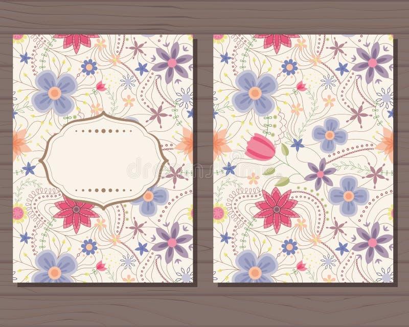 Download Cartão Do Vintage Com Flores Ilustração Stock - Ilustração de nave, fundo: 80102290