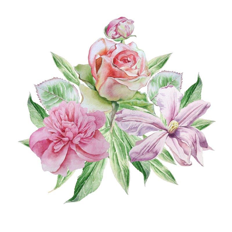 Cartão do vintage com flores da mola Rosa Peônia Clematis watercolor ilustração do vetor