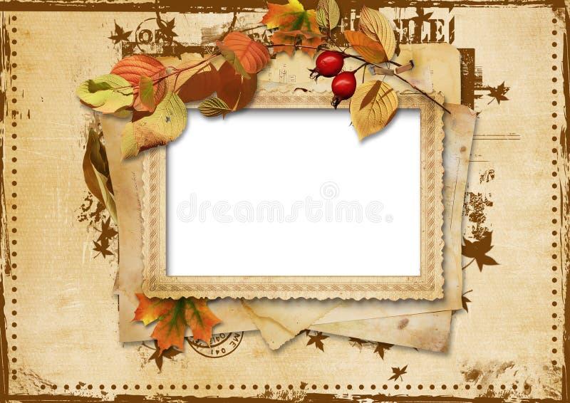Cartão do vintage com folhas de outono ilustração stock