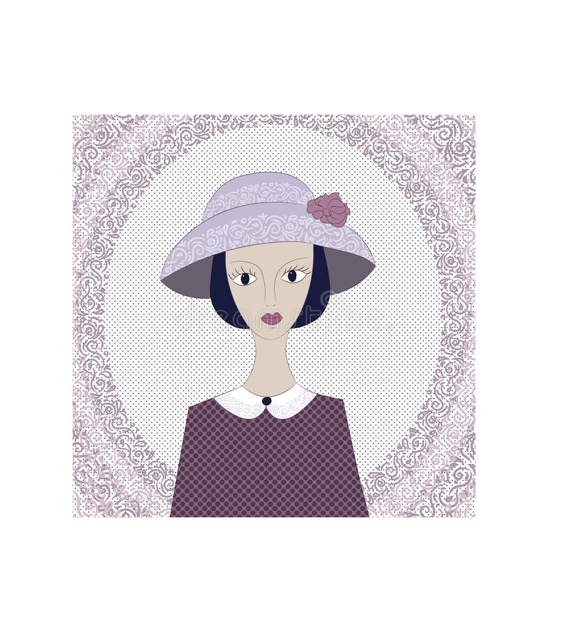 Cartão do vintage com a mulher elegantemente vestida Jovem senhora no chapéu ilustração do vetor