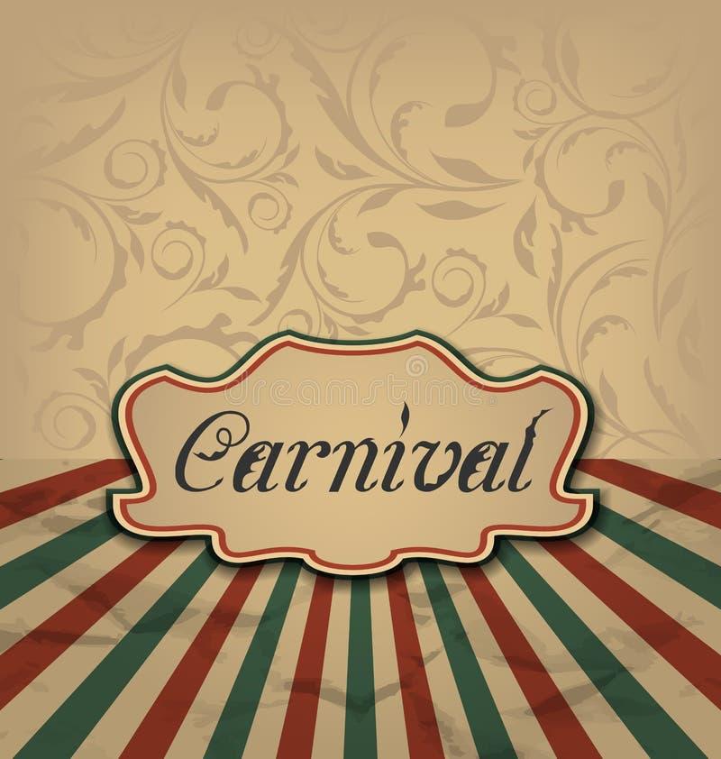 Cartão do vintage com o encabeçamento da propaganda para o carnaval ilustração royalty free