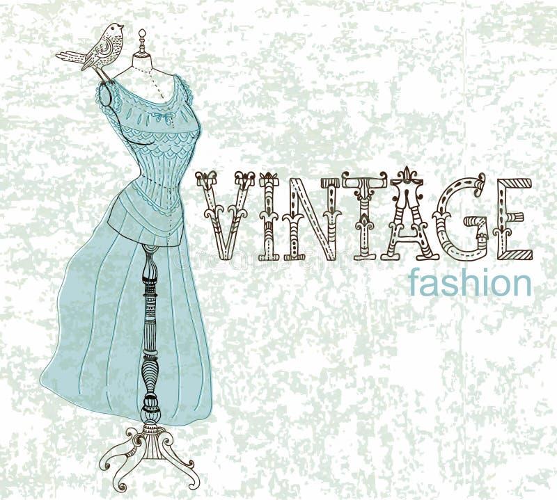 Cartão do vintage com manequim retro ilustração stock