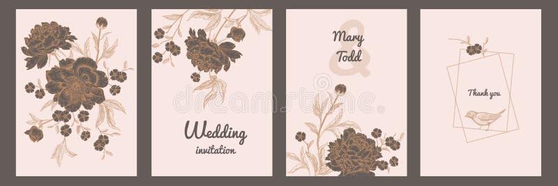 Cartão do vintage com os pássaros e as flores ajustados ilustração do vetor