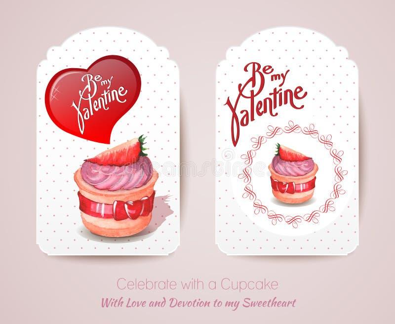 Cartão do vintage com queque Cartão do dia do Valentim ilustração do vetor