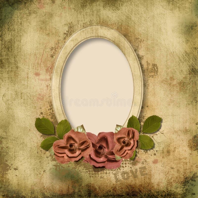 Cartão do vintage com rosas ilustração royalty free
