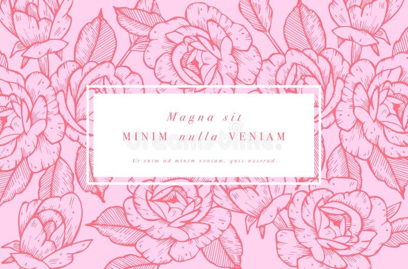 Cartão do vintage com Rose Flowers Grinalda floral Quadro da flor para o flowershop com projetos da etiqueta O verão floral aumen ilustração royalty free