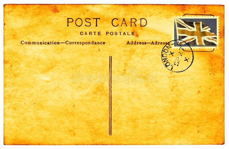 Cartão do vintage com selo desvanecido de Ingleses do falso fotografia de stock