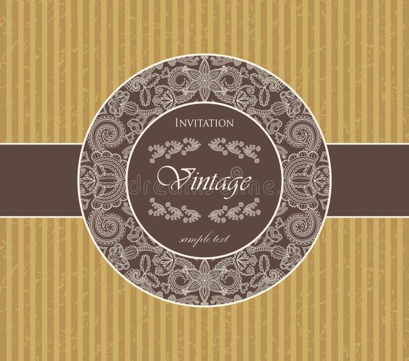 Cartão do vintage com um frame floral ilustração royalty free