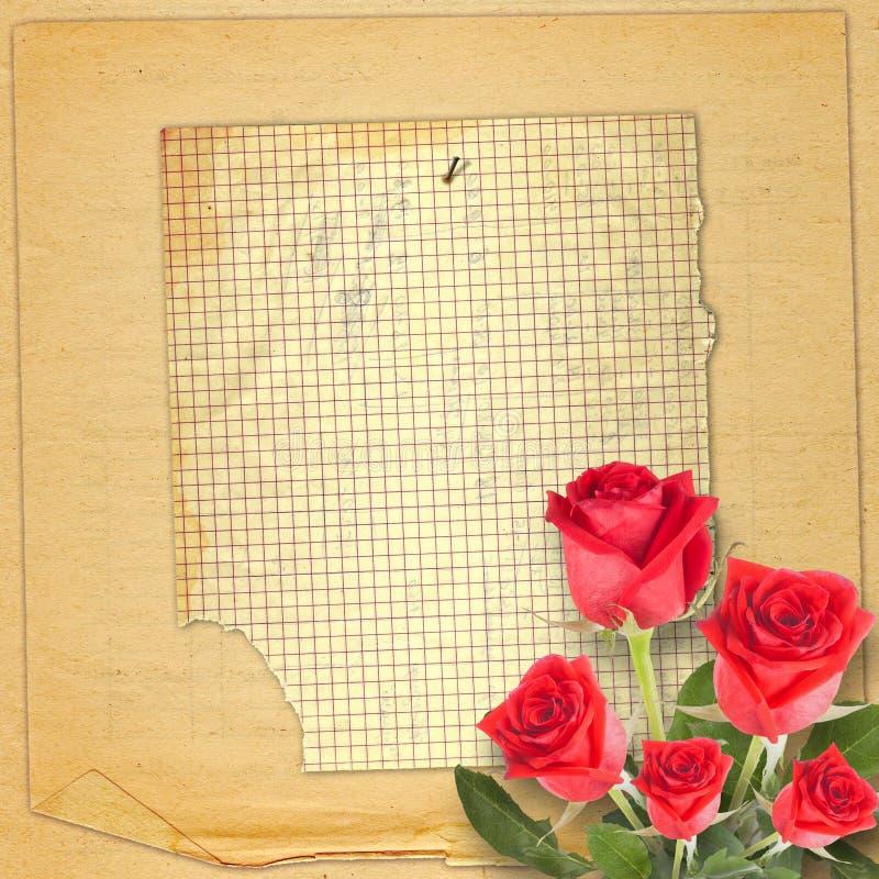 Cartão do vintage com uma rosa bonita do vermelho no fundo de papel fotografia de stock