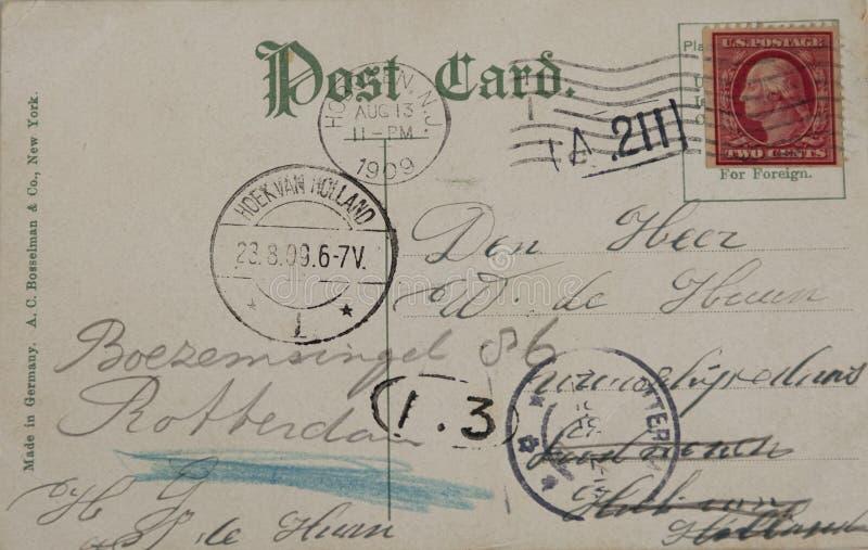 Cartão do vintage de 1909 fotografia de stock