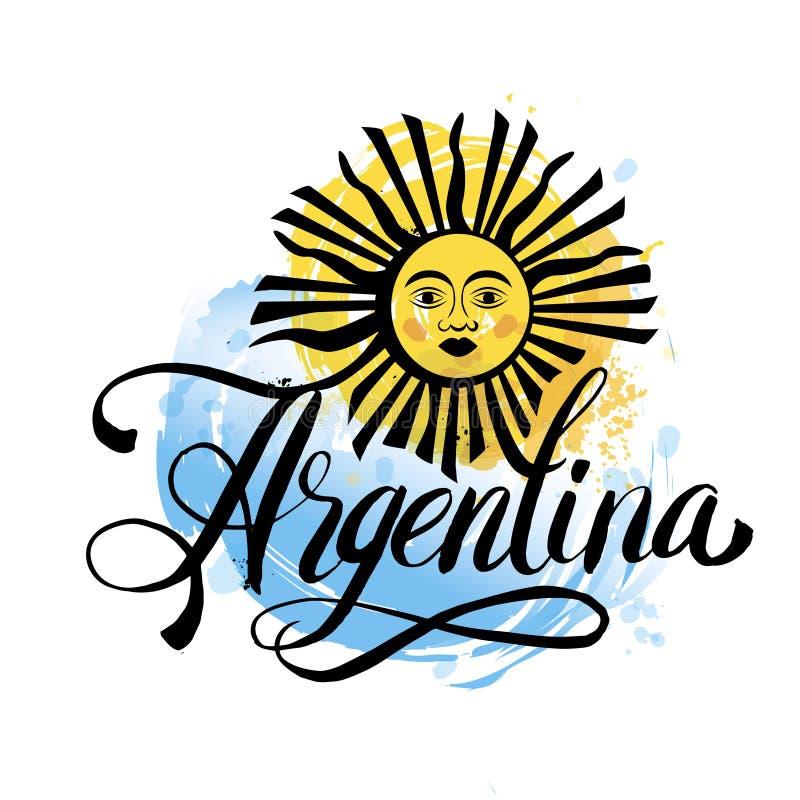 Cartão do vintage de Argentina - a ilustração do vetor do cartaz, cores da bandeira de Argentina, efeitos do grunge pode facilmen ilustração stock
