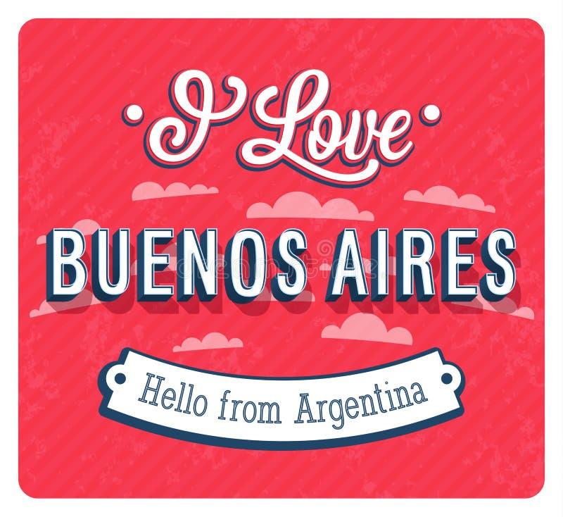 Cartão do vintage de Buenos Aires - Argentina ilustração do vetor