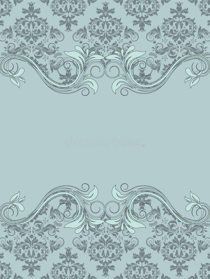 Cartão do vintage do convite com ornamento floral ilustração royalty free