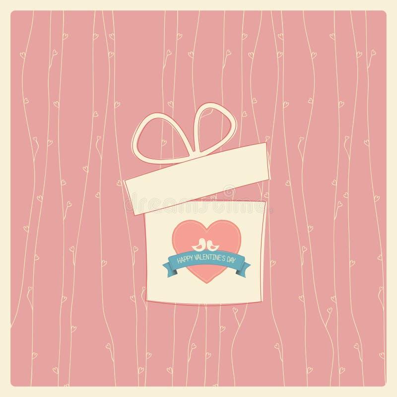 Cartão do vintage do dia de Valentim ilustração do vetor