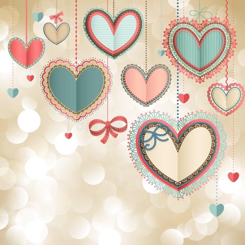 Cartão do vintage do dia do `s do Valentim ilustração royalty free