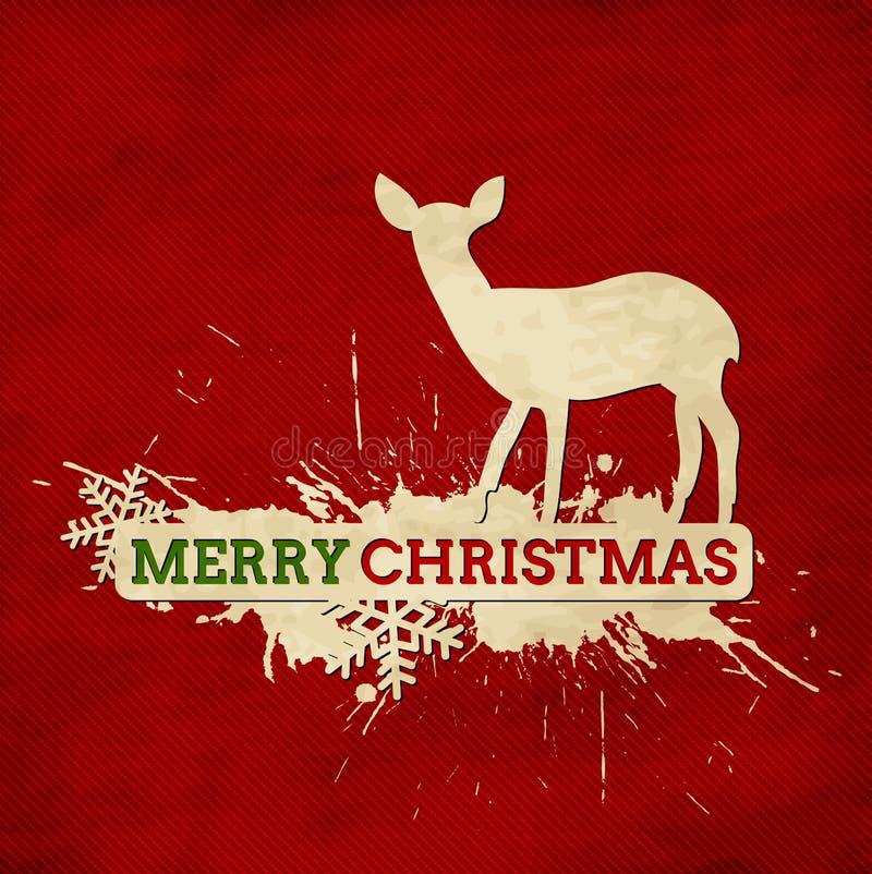 Cartão do vintage do Feliz Natal com cervos e snowfla ilustração royalty free