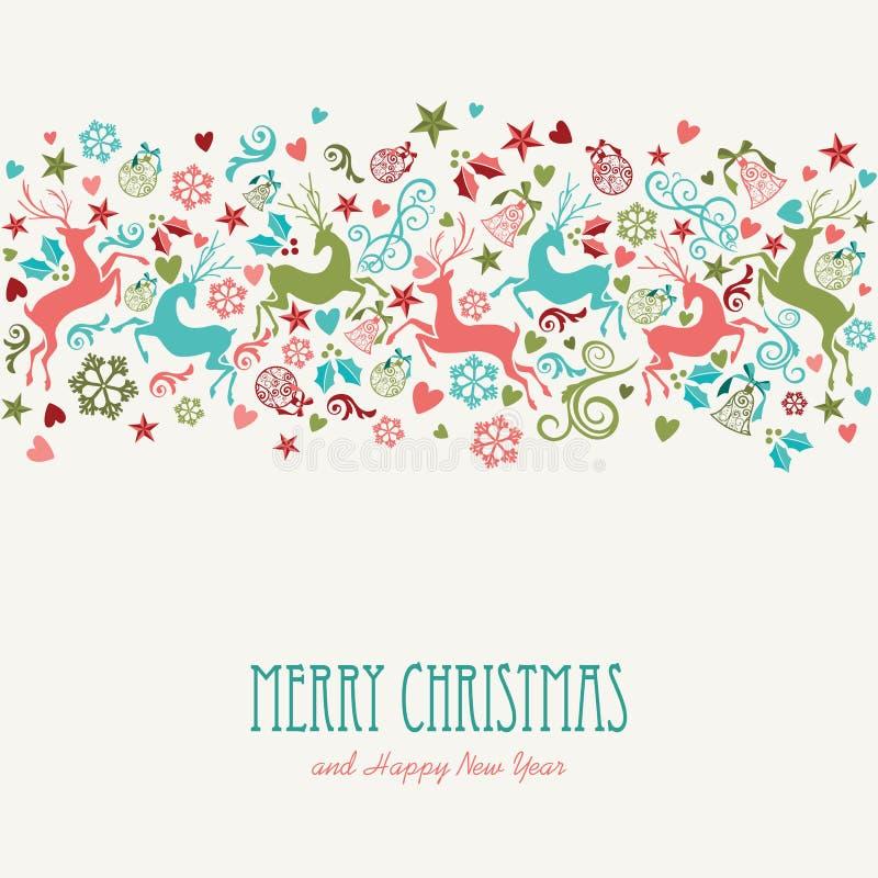 Cartão do vintage do Feliz Natal e do ano novo feliz ilustração royalty free