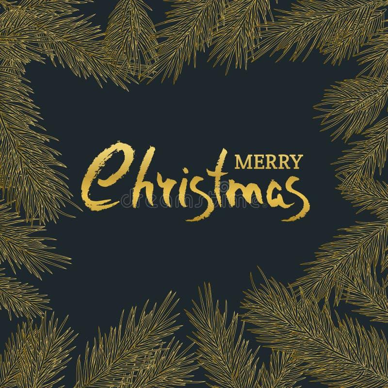 Cartão do vintage do Feliz Natal Vector o quadro quadrado com ramos dourados tirados mão do abeto ilustração stock