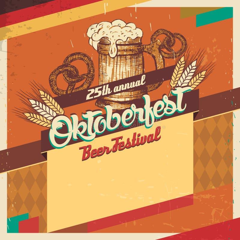 Cartão do vintage do festival da cerveja de Oktoberfest ilustração stock