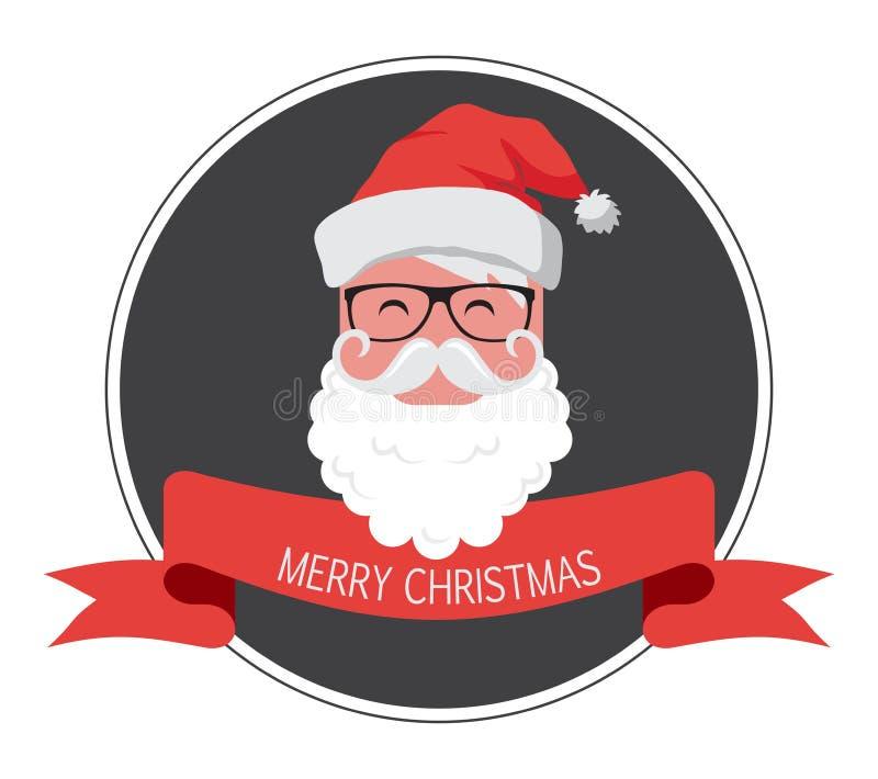 Cartão do vintage do moderno Papai Noel Ano novo feliz ilustração royalty free
