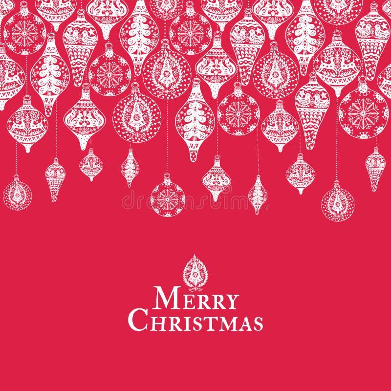 Cartão do vintage do Natal com com a decoração tirada mão do Natal ilustração do vetor