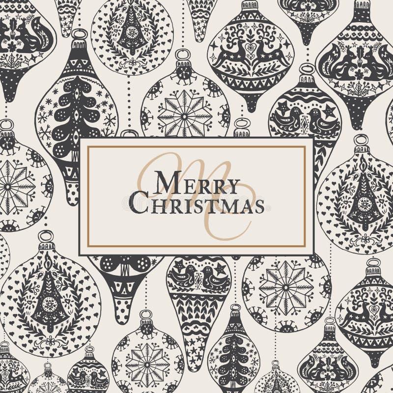 Cartão do vintage do Natal com com a decoração tirada mão do Natal ilustração stock