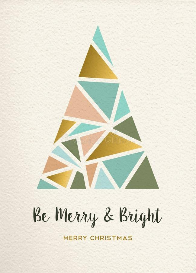 Cartão do vintage do ouro do triângulo da árvore do Feliz Natal ilustração do vetor