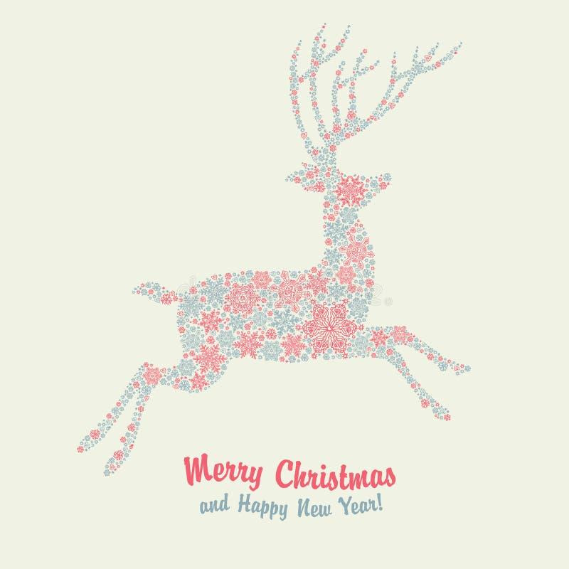 Cartão do vintage dos cervos do Natal ilustração royalty free