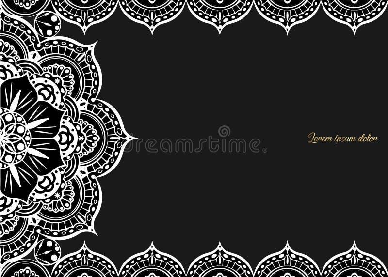 Cartão do vintage em um fundo preto Molde luxuoso do ornamento Grande para o convite, inseto, menu, folheto, postcar ilustração do vetor