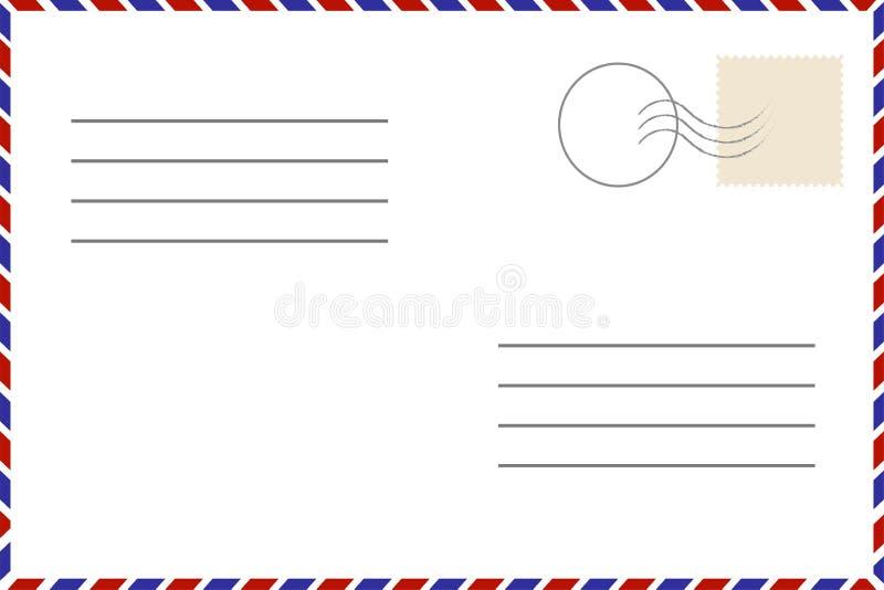 Cartão do vintage Molde velho Envelope retro do correio aéreo com selo foto de stock