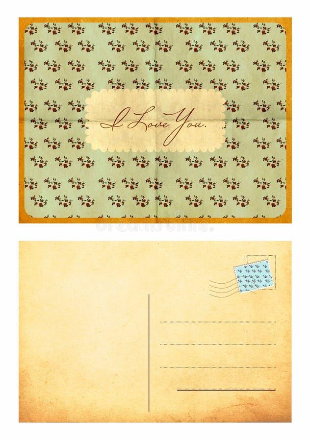 Cartão do vintage no papel do vintage imagem de stock