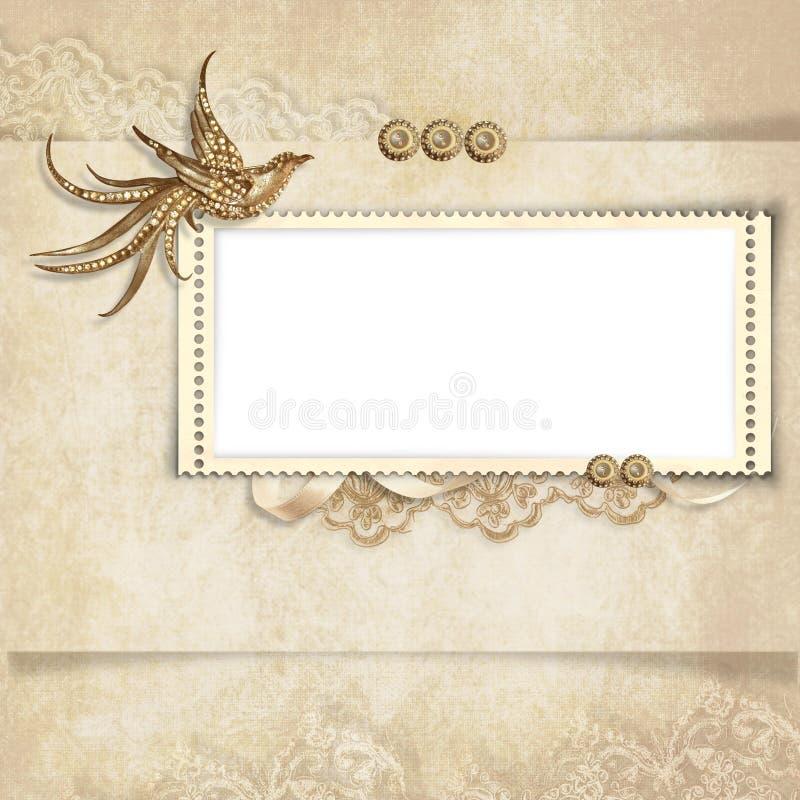 Cartão do vintage para as felicitações com pássaro ilustração royalty free
