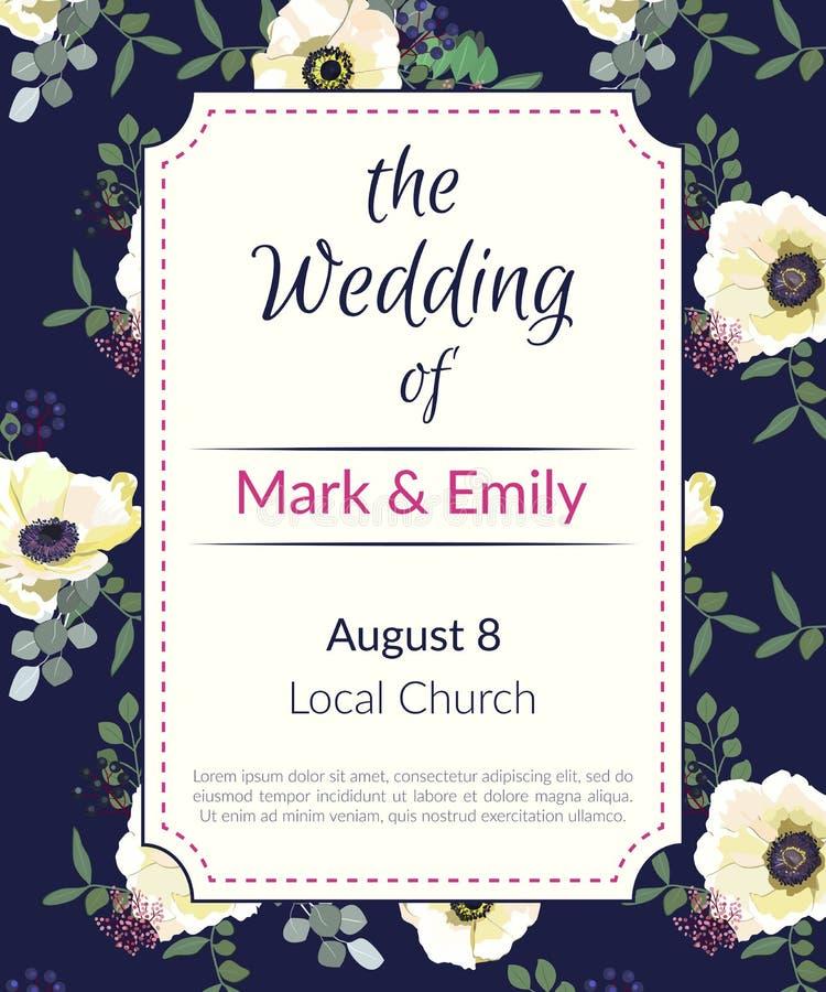 Cartão do vintage para o molde do convite do casamento Escuro - fundo azul Teste padrão floral das anêmonas brancas Vetor ilustração stock
