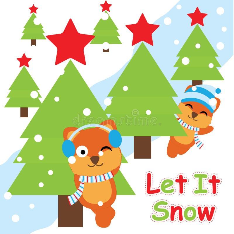 Cartão do Xmas com as raposas bonitos ao lado dos desenhos animados da árvore, do cartão do Xmas, do papel de parede, e do cartão ilustração do vetor
