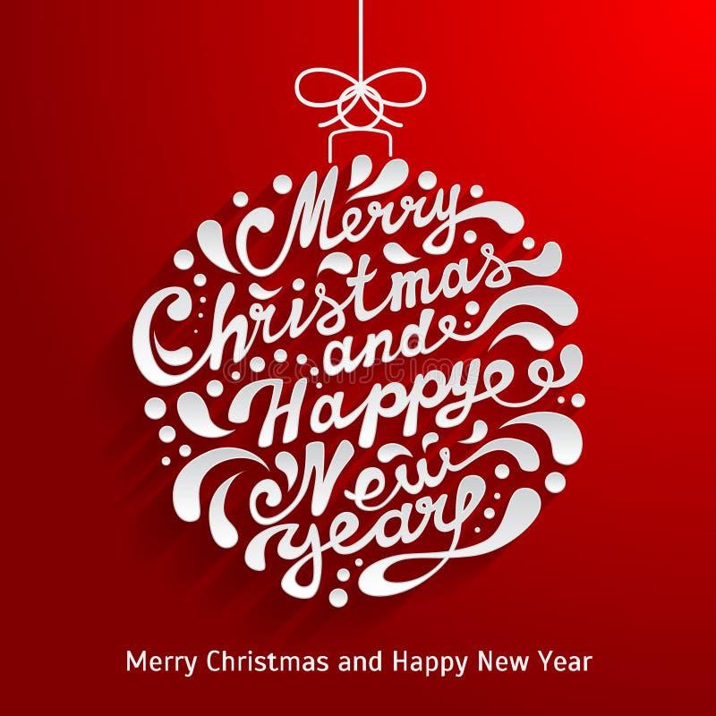 Cartão do Xmas com a bola abstrata do Natal da garatuja Vetor e ilustração stock