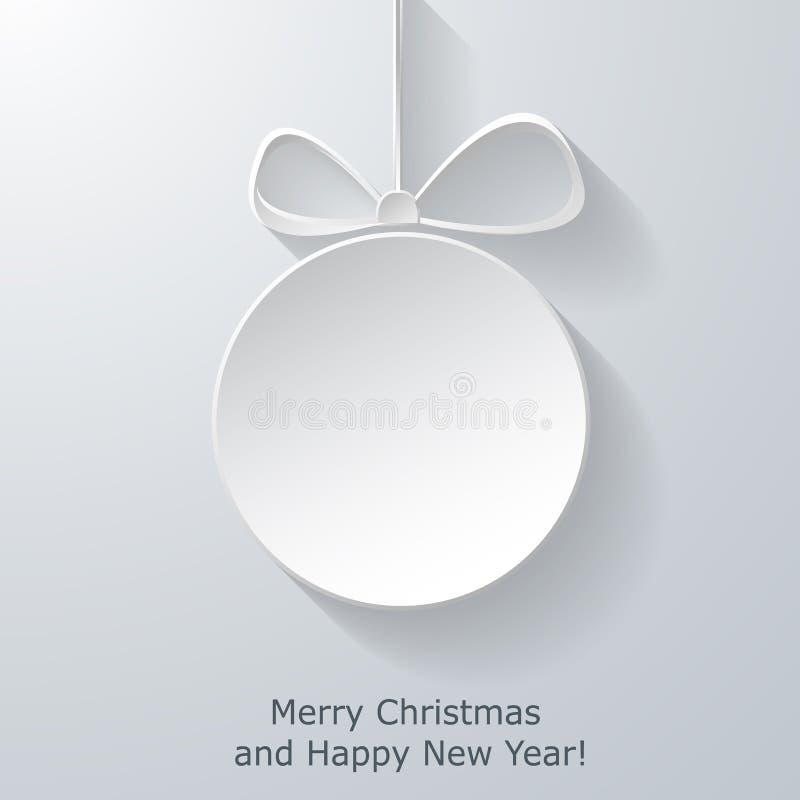 Cartão do Xmas com a bola de papel abstrata do Natal ilustração stock