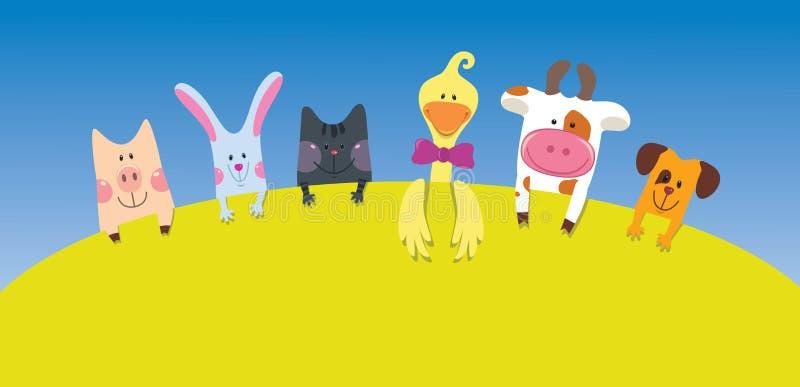 Cartão dos animais de exploração agrícola dos desenhos animados ilustração stock