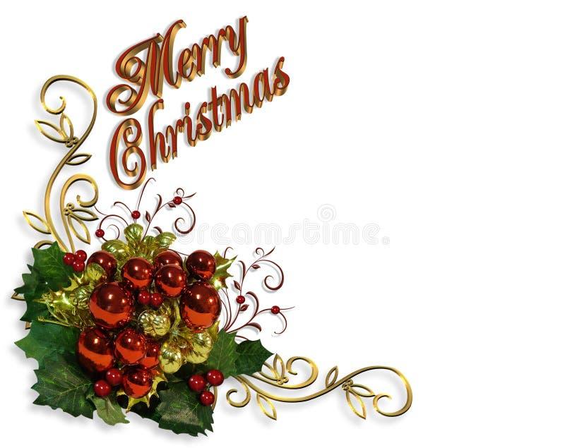 Cartão dos baubles do Natal ilustração royalty free