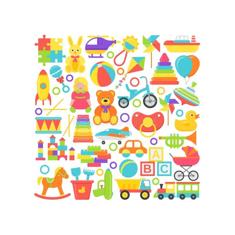 Cartão dos brinquedos do bebê no conceito quadrado Ilustra??o do vetor no projeto liso ilustração do vetor
