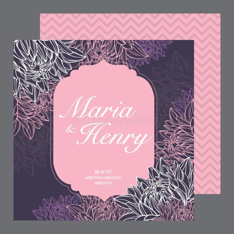 Cartão dos convites do casamento ilustração stock