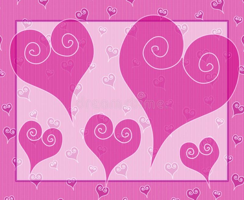 Cartão dos corações do dia do Valentim cor-de-rosa de Artsy ilustração royalty free