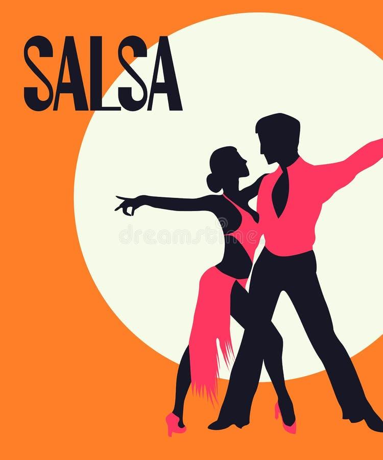 Cartão dos dançarinos da salsa ilustração stock