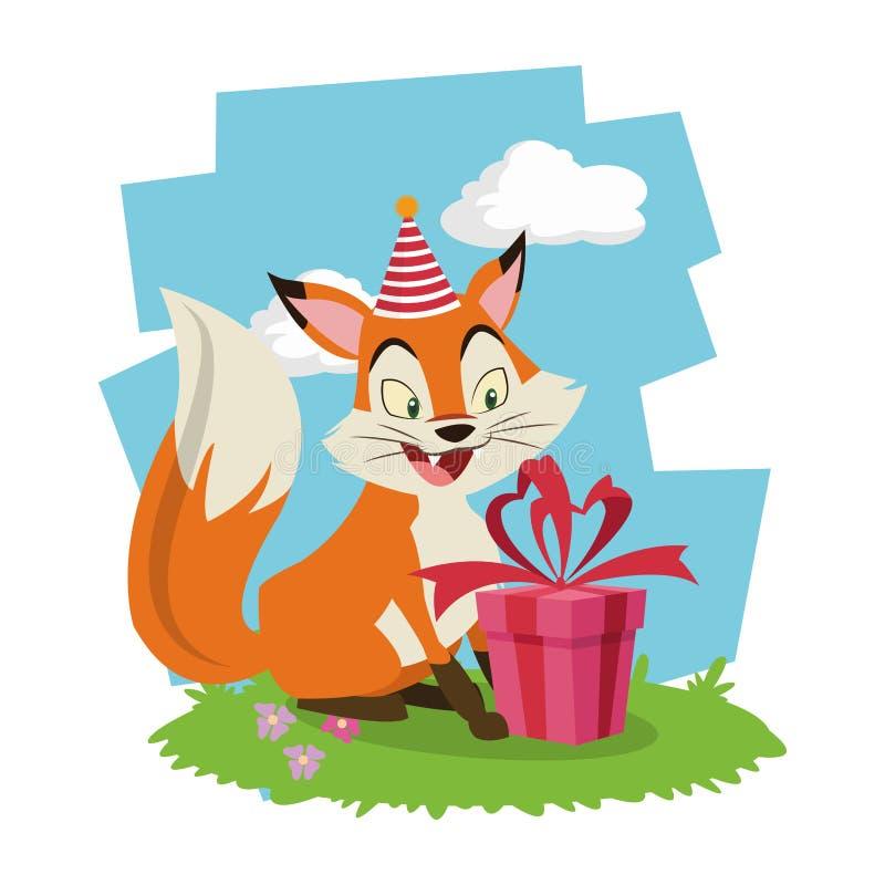 Cartão dos desenhos animados da raposa do feliz aniversario ilustração royalty free
