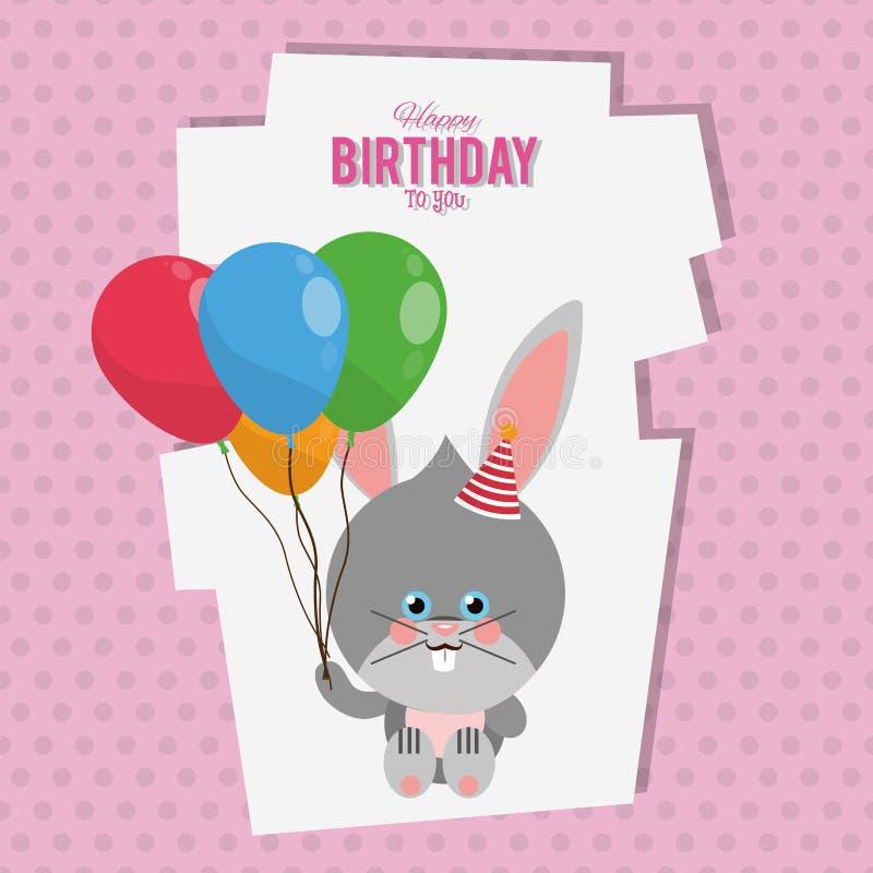 Cartão dos desenhos animados do coelho do feliz aniversario ilustração do vetor