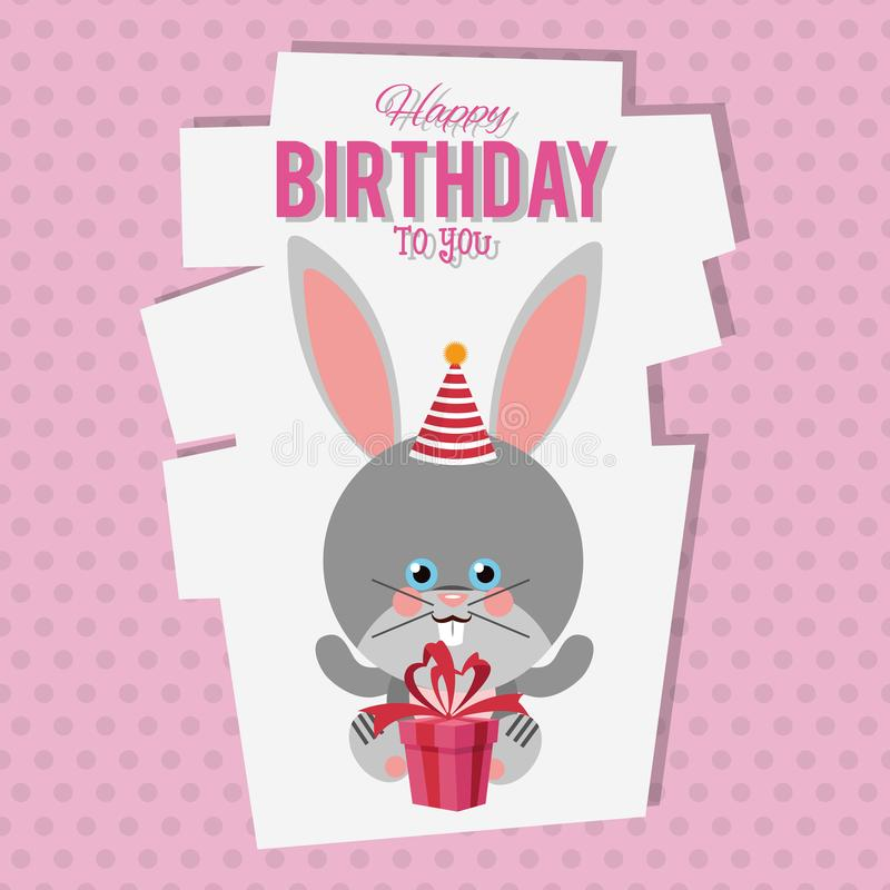 Cartão dos desenhos animados do coelho do feliz aniversario ilustração royalty free