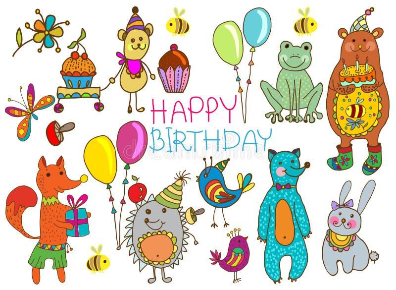 Cartão dos desenhos animados do feliz aniversario ilustração royalty free